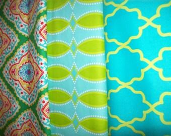 Michael Miller fabric bundles aqua green mix 3 fat quarter bundles/ Designer fabric bundles