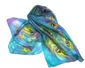 SALE 10% of  Peacock Silk Scarf, hand painted silk scarf, turquoise,purple and green silk scarf,shawl,wrap.