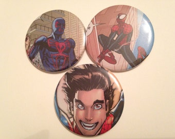 Spider Man/Peter Parker Comic Book Button 3 pack