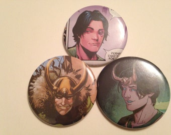 Loki Comic Book Button 3 pack