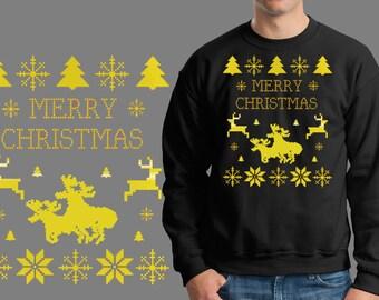 Merry Christmas Sweatshirt Funny Christmas Ugly Sweater X-mas Moose Love