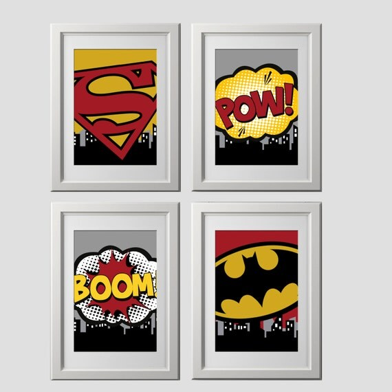 superhero wall prints, wall decor, super hero prints set of 4, 8x10 inch prints shipped to your door