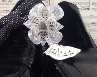 White Pearl Guitar Pick Flower Boutonniere or Lapel Flower with Sheet Music Leaf