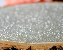 """10"""" Silver Glitter Tree Stump Slice for Vintage and Rustic Celebrations"""