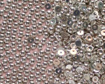 200 Pcs 5mm Silver Metallic Flatback Pearls