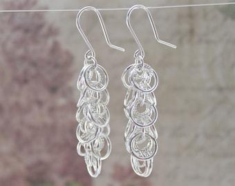 Sterling Silver Cascade Earrings - Waterfall Silver Earrings - Long Cascade Earring - Bridesmaid Earrings