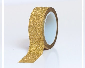 Gold GLITTER washi tape - 10 yards roll -  Great for  DIY projects, gift packaging and more!