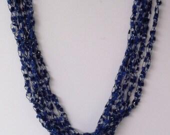 Navy blue ladder trellis necklace