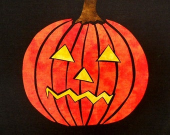 Easy Scary Pumpkin Stained Glass Quilt Applique Pattern Design