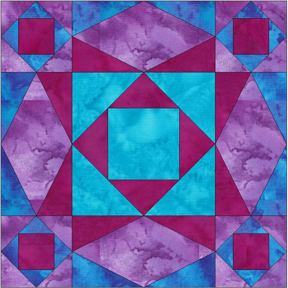 Stormy Sea Chain Paper Template Quilting Block Pattern PDF