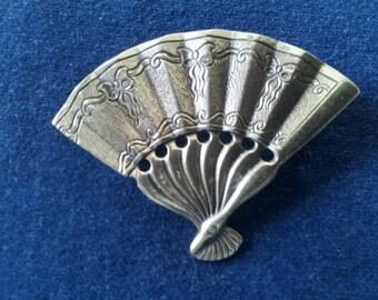 Vintage Sterling Fan Brooch Pin, Napier Sterling Fan Brooch Pin