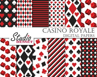Casino Digital Papers, Poker Playing Card Paper in black and red, Gambling Backgrounds A004