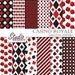 Casino Digital Papers, Poker Playing Card Paper in black and red, Gambling Backgrounds for Personal and Commercial Use