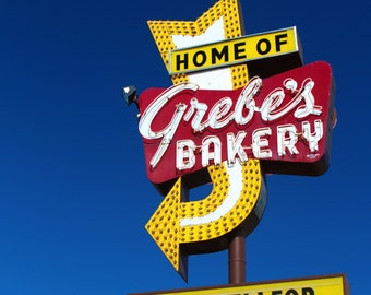 Retro Vintage Grebe's Bakery Sign Red Yellow Milwaukee Wisconsin Fine Art Photo Print Home Wall Decor by Rose Clearfield on Etsy