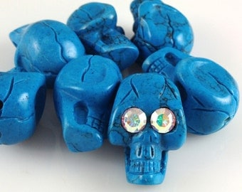 Turquoise Skull Bead - Top Whole
