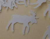 White Moose Paper Confetti, Table Scatter, Cutouts Wedding ,Baby Shower, Die Cuts, Scrapbook Embellishments Decorations