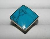 Beautiful huge ring turquoise jasper green  peruvian stone alpaca silver brand new!