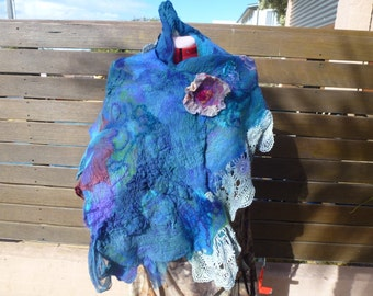 Hand dyed merino wool, mohair, silk and cotton nuno felted wrap.