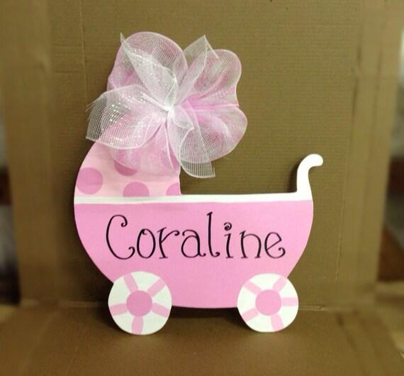 Wooden Door Hanger Baby Carriage Polk A Dot Pink Baby Hospital