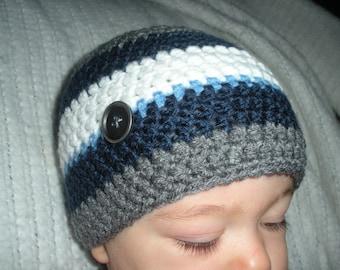 Baby boy hat, crochet baby beanie, striped baby boy hat, baby boy beanie, baby boy gift, 0-3 month baby gift, newborn photo prop, blue