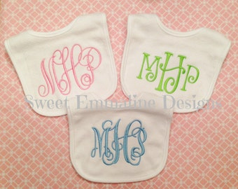 Personalized Embroidered Monogrammed Baby Bib -- Monogrammed Bib