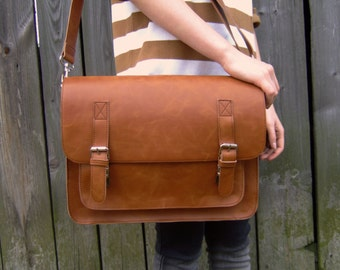 Brown leather messenger bag, 16 inch, leather satchel, handmade leather bag, leather shoulder bag