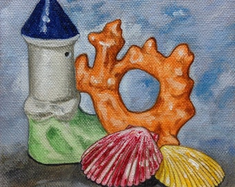 "Still Life Painting, Original oil, Realism""Fish Tank Castle & Seashells"" 5x5 Orange/red Fanciful art, Seashell painting, Whimsical, Humorous"