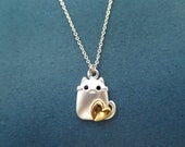 Lovely, Cute, Cat, Kitty, Silver, Necklace, Kitten, Animal, Dainty, Lovely, Gold, Heart, Necklace, Birthday, Friendship, Gift, Jewelry