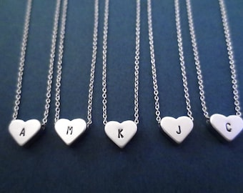Set of 3+, Silver, Heart, Initial, Necklace