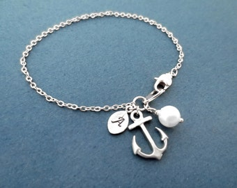 Personalized, Letter, Initial, Pearl, Silver, Anchor, Bracelet, Marine, Anchor, Jewelry, Friendship, Best friend, Lover, Gift, Jewelry