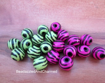 Zebra Print Basketball Wives Beads- 11mm Pink or Green YOUR CHOICE QTY 30