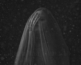 Winter - Surreal Portrait Fine Art Photography Veil Skeleton Hand Snow Night Dark Creepy Conceptual Death Woman Shroud Photo Bone Print
