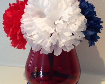 Patriotic Centerpiece / 4th of July Decoration / Patriotic Candle Holder- Blue, White & Red