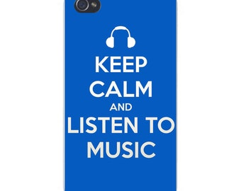 Apple iPhone Custom Case White Plastic Snap on - Keep Calm and Listen To Music White on Blue 6658