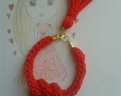 Nautical bracelet with  red tassel and knot, red knit bracelet.