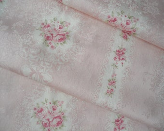"Half Yard of Quilt Gate Mary R Premier (Jacquard fabric) Victorian Rose Wreath on Peach pink Background. Approx. 18"" x 44"" Made in Japan"