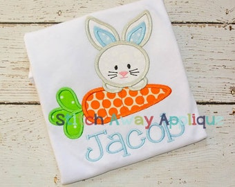 Easter Bunny Peeking Carrot Machine Embroidery Applique Design