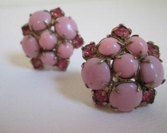 Vintage 50's pink jewled with rhinestone screw back earrings