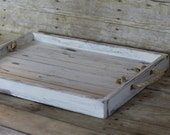 Large Reclaimed Rustic Wood Serving Tray Customizable Rustic Wedding Table Centerpiece White
