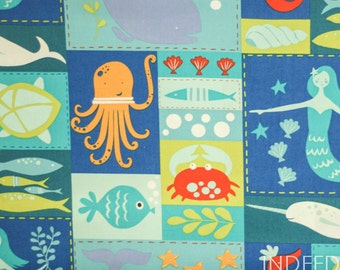 ORGANIC Sea Life Patchwork, Under the Sea by Monaluna, GOTS Certified Organic Cotton, Quilting Weight