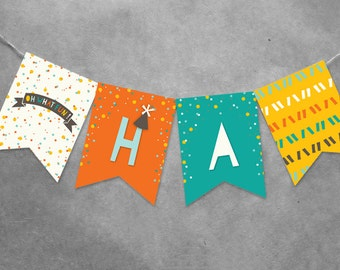 INSTANT DOWNLOAD Colorful Confetti Happy Birthday Bunting Banner | Oh What Fun To Be One 1st Birthday Party Decoration For Kids & Boys PDF