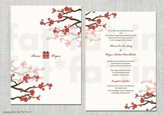 red plum flower chinese wedding invitations