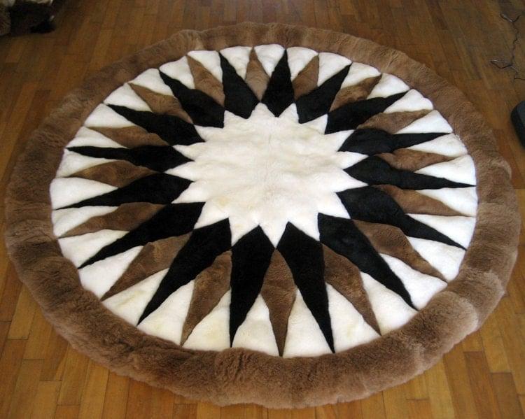 New 59 150cm Round Alpaca Rug 100 Alpaca Fur Art