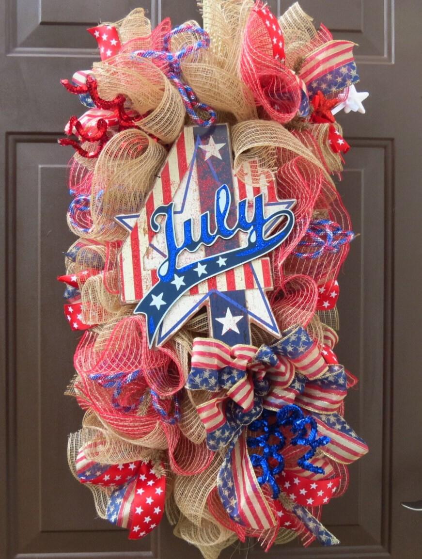 July 4 Deco Mesh Wreath Swag 4th Of July Deco By Festivalofwreaths