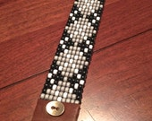 Argyle Beaded Cuff in Black, Gray & White Glass Beads. Genuine Leather  + Brass Button Closure