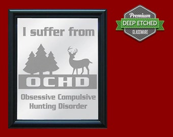 "Hunting Sign, Etched Mirror with Hunting Design, 23.5"" x 19.5"" with decorative black frame"