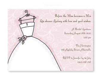 Wedding / Bridal shower invitation, digital file, you print yourself!