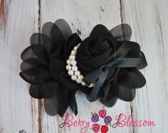 5 inch Black Chiffon Flower with Pearl Beads & Ribbon - flower accessory - headband flower - corsage wedding flowers