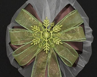Sage Green Glitter Snowflake Brown Wedding Pew Bows Church Aisle Ceremony Decorations