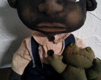 Primitive Black Folk Art Doll Set - Boy Doll and His Frog